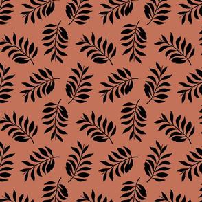 Palm spring leaves sweet minimal botanical garden summer design copper rusty brown