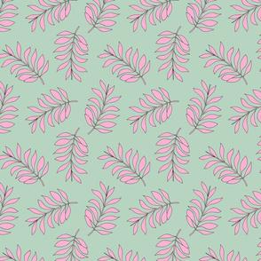 Palm spring leaves sweet minimal botanical garden summer design mint pink