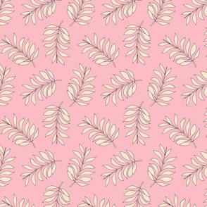 Palm spring leaves sweet minimal botanical garden summer design peach pink pastels