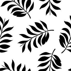 Palm spring leaves sweet minimal botanical garden summer design black and white XXL