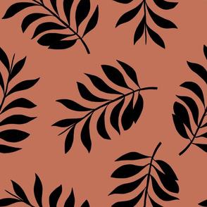 Palm spring leaves sweet minimal botanical garden summer design copper rusty brown XXL