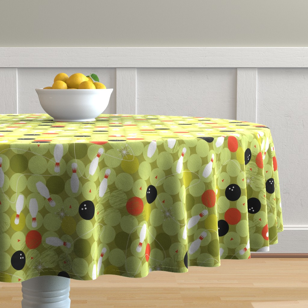 Malay Round Tablecloth featuring Bowl-o-rama! by cynthiafrenette
