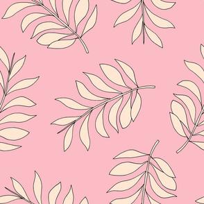 Palm spring leaves sweet minimal botanical garden summer design peach pink pastels XXL