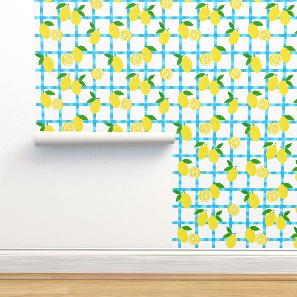 Lemon Picnic Plaid Block Print On Isobar By Always June Roostery