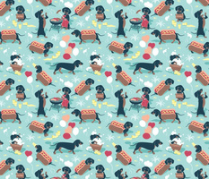 Small scale // Hot dogs and lemonade // aqua background Dachshund sausage dogs