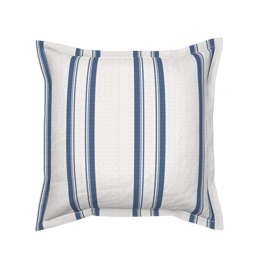 Serama Throw Pillow featuring Grain Sack Stripe in French Blue by gigi&mae