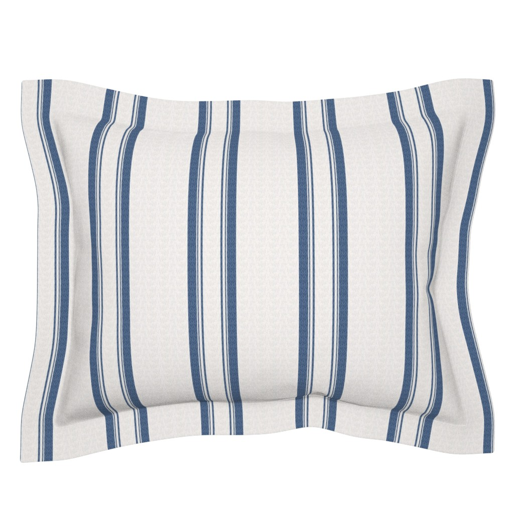 Sebright Pillow Sham featuring Grain Sack Stripe in French Blue by gigi&mae