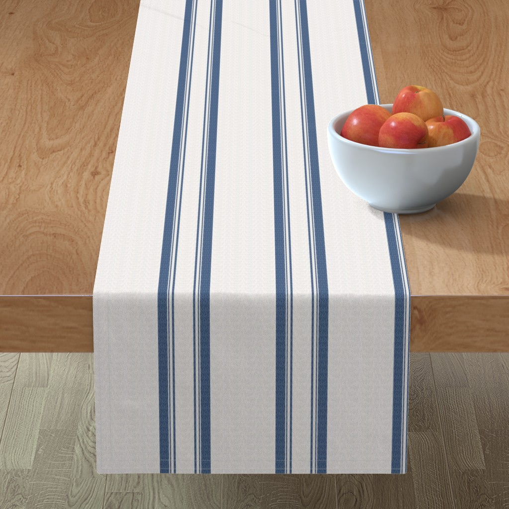 Minorca Table Runner featuring Grain Sack Stripe in French Blue by gigi&mae
