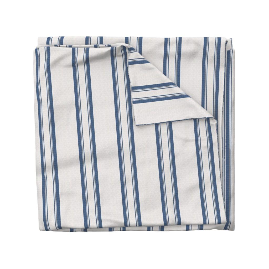 Wyandotte Duvet Cover featuring Grain Sack Stripe in French Blue by gigi&mae