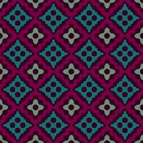 Moroccan diamonds - purple and teal
