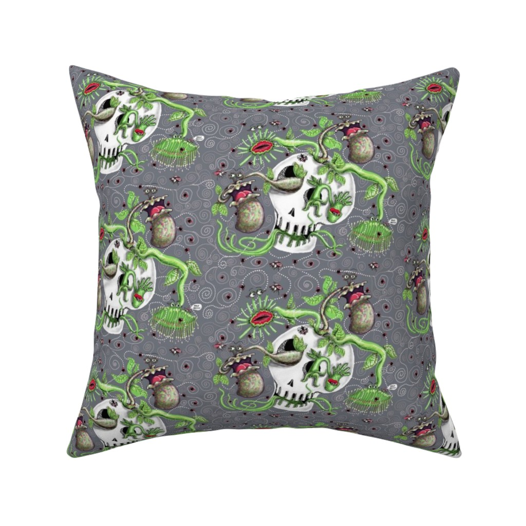 Catalan Throw Pillow featuring skull pot with carnivorous plants, large scale, gray grey green by amy_g