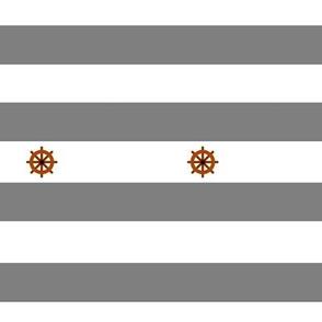 Nautical stripes grey boat rudder - Rayures marine gris gouvernail de bateau
