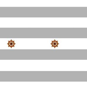 Nautical stripes light grey boat rudder - Rayures marine gris clair gouvernail de bateau