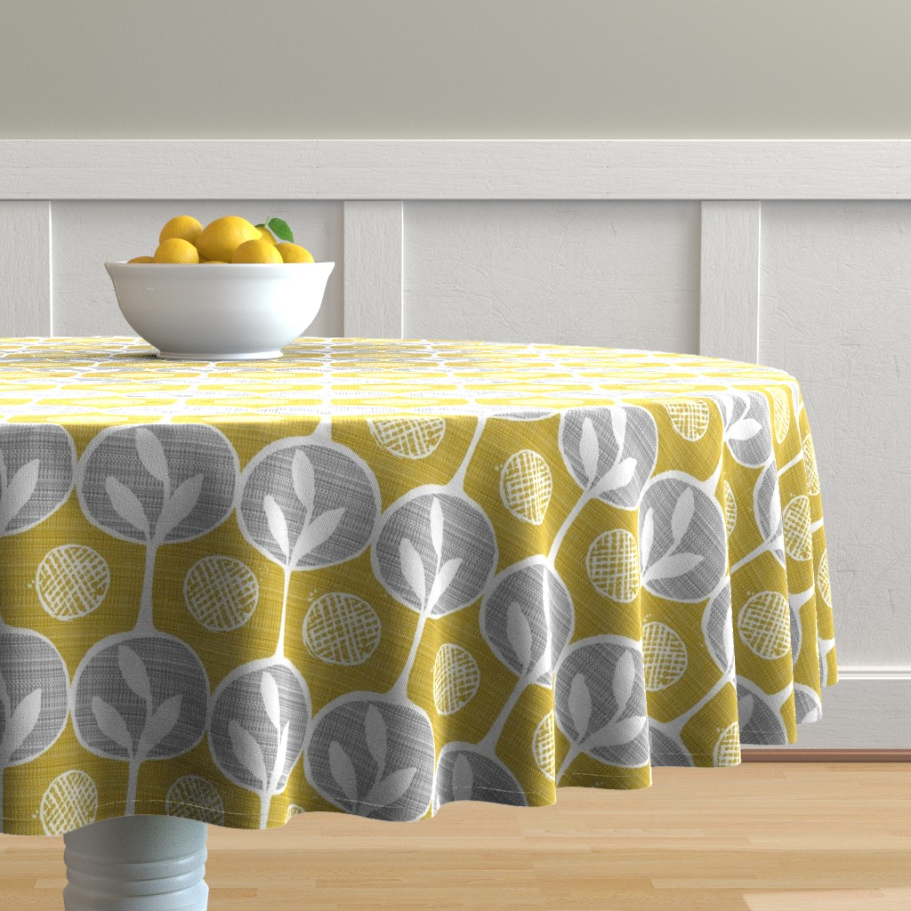 Malay Round Tablecloth featuring  forest - large scale trees -darker golden by ottomanbrim