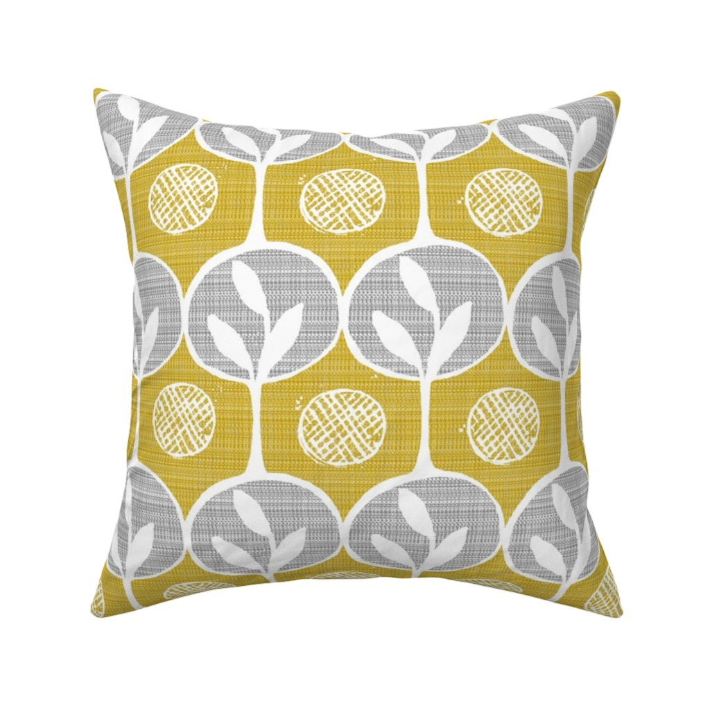 Catalan Throw Pillow featuring  forest - large scale trees -darker golden by ottomanbrim