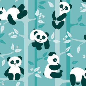 panda forest - teal