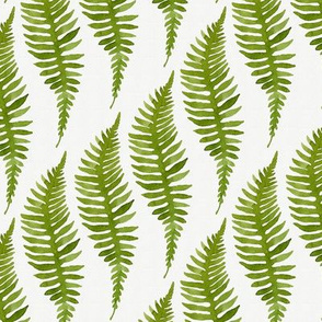Watercolor Fern Pattern on Gray Background