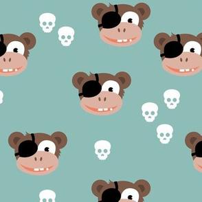Little pirate sailor monkey kids design with skulls blue