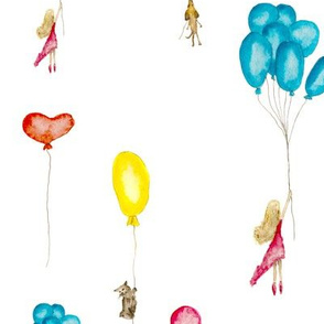 Watercolor girl, cat and dog with balloons / nursery fairy tale design