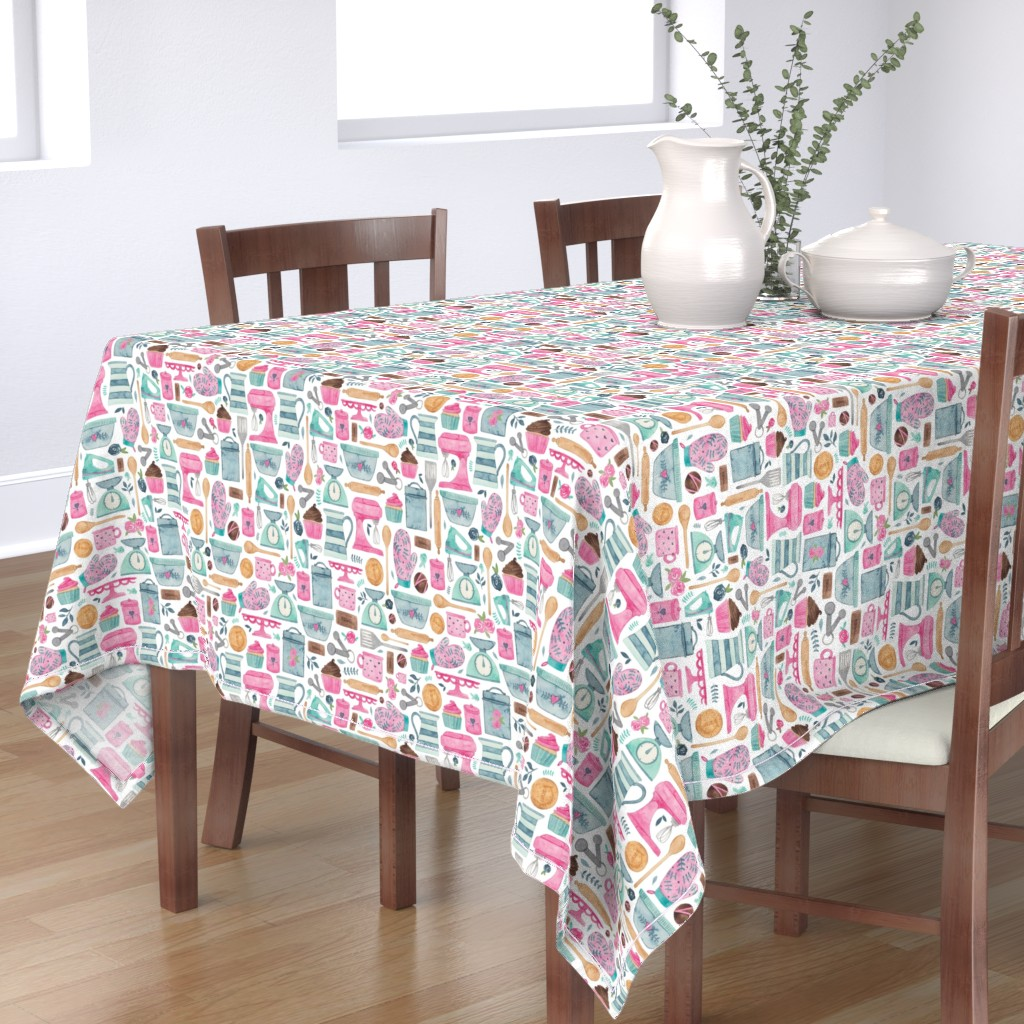 Bantam Rectangular Tablecloth featuring Baking, kitchen pattern! by elena_o'neill_illustration_