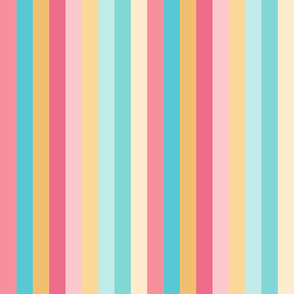 Warm Rainbow Stripes 1 inch