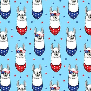 patriotic llama on blue with stars