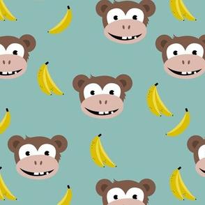 Cute little banana monkey fun fruit kids design blue