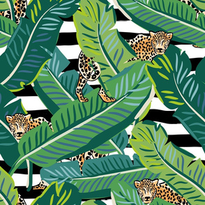 "21"" Cheetah & Tropical Leaves - Black and White Stripes"