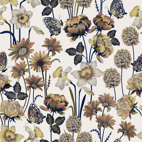 Spring Flowers Gray & Blue