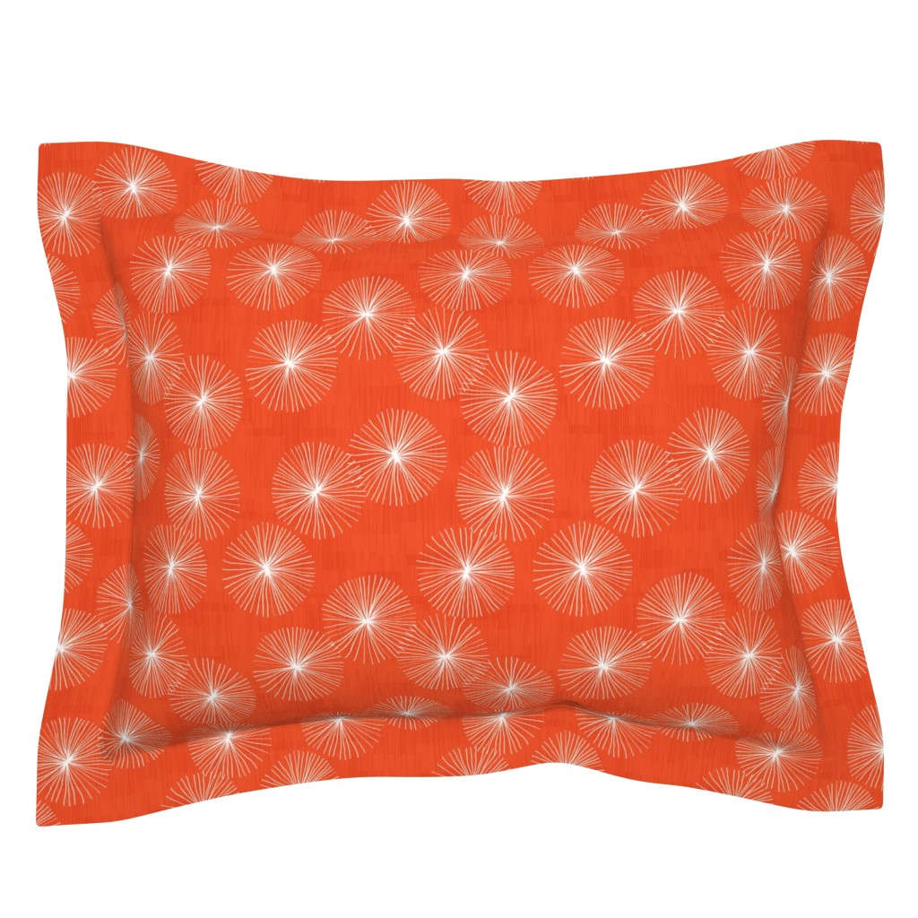 Sebright Pillow Sham featuring Dandelions M+M Watermelon 9.5 by Friztin by friztin