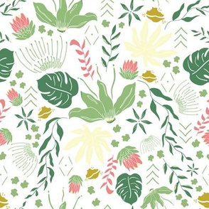 Light Green Tropical Floral on White