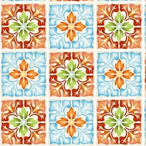 Moroccan floral tiles seamless pattern