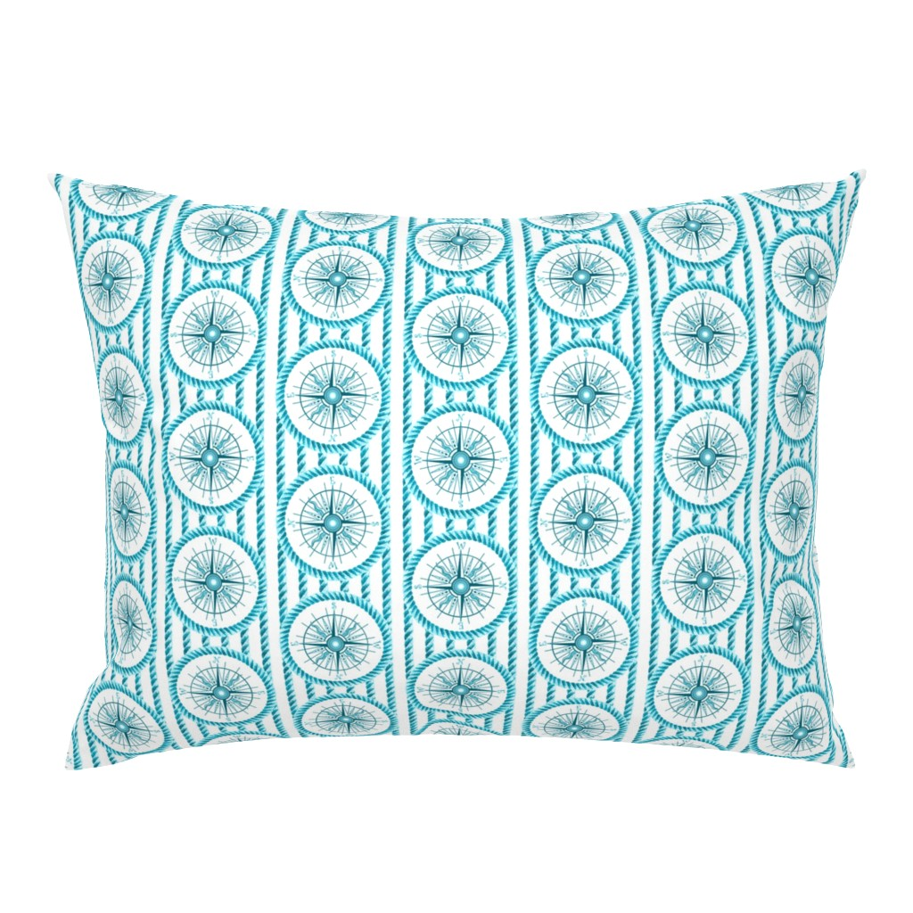 Campine Pillow Sham featuring windrose and rope aqua blue by keweenawchris