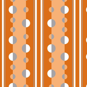 modern circles and stripes in orange and gray
