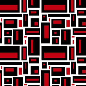 Geometric Rectangles in Black and Red on White
