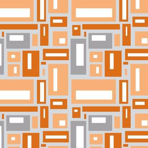 Geometric Rectangles in Orange and Grays