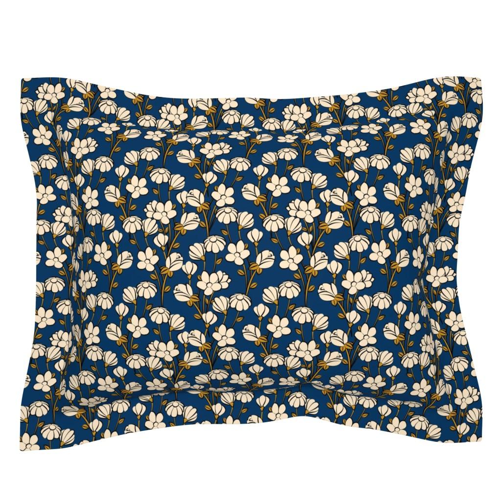 Sebright Pillow Sham featuring Floral Spring-blue by lapetitelecour
