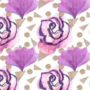 Boho Florals Geo Background Plum