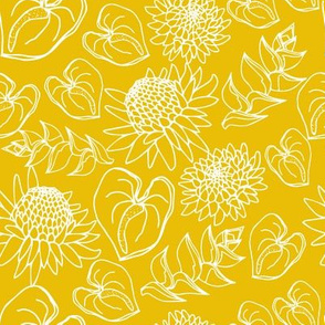 Mustard Tropical Floral