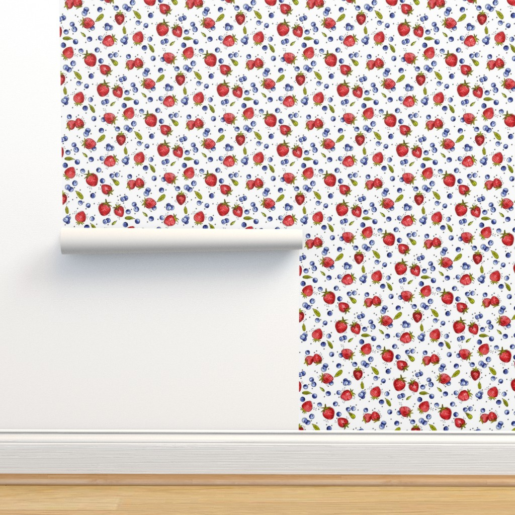 Isobar Durable Wallpaper featuring Strawberry, Blueberry, Mint by marketa_stengl