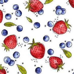 Strawberry, Blueberry, Mint