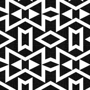 Tribal Triangles Textured - Black and White