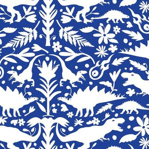 Dinosaur Otomi White on Royal Blue