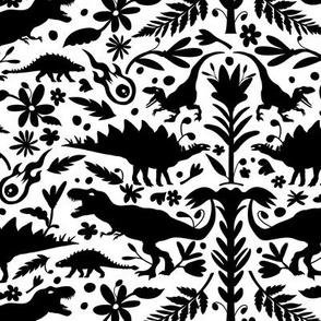 Dinosaur Otomi Black on White