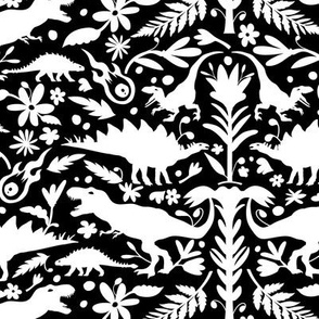 Dinosaur Otomi White on Black