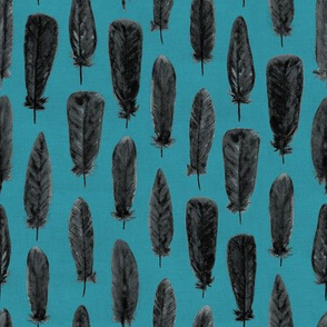 Watercolor Feathers (Black on Turquoise)