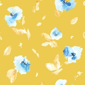Babylon Abstract Watercolor Florals with Yellow and Blue