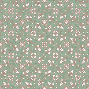 Folk floral small sage green pink