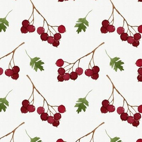 Red watercolor berries and green leaves seamless pattern