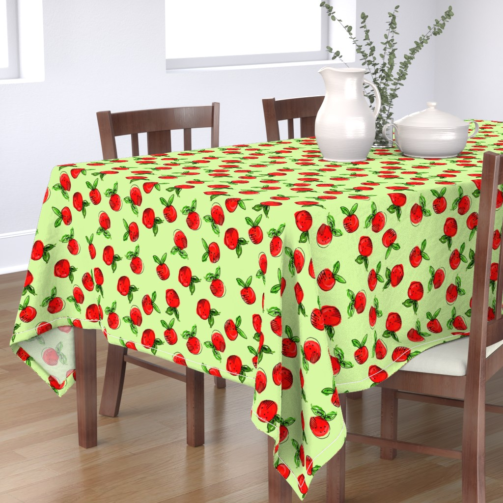 Bantam Rectangular Tablecloth featuring Watercolor Tangerine Pistácio by bruxamagica